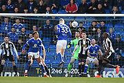 Chesterfield defender Alex Whitmore (33) has a chance at goal during the EFL Sky Bet League 2 match between Chesterfield and Notts County at the b2net stadium, Chesterfield, England on 25 March 2018. Picture by Jon Hobley.