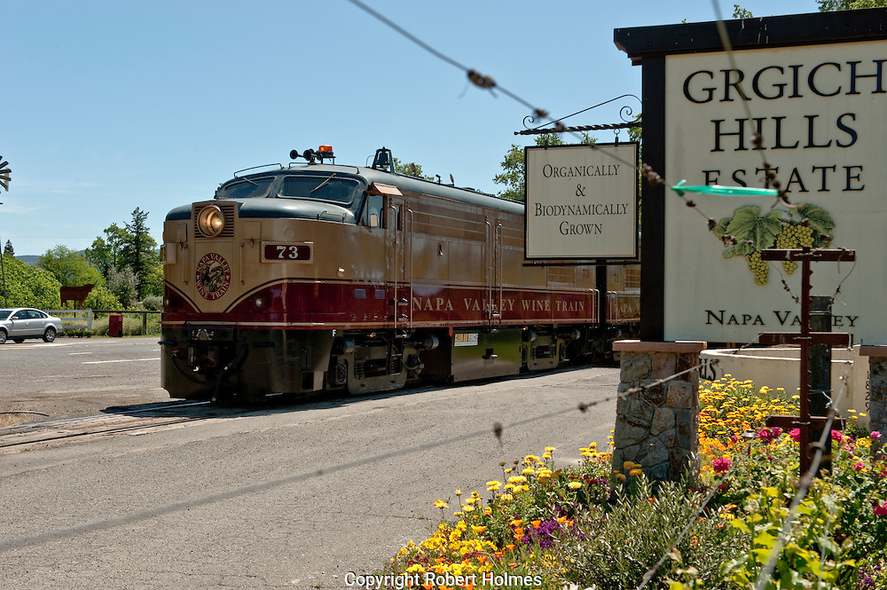 The Wine Train passing Grgich Hills Winery, Rutherford, NApa Valley