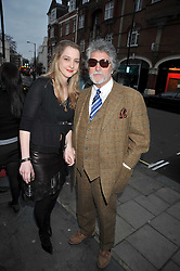DAISY DE VILLENEUVE and her father JUSTIN DE VILLENEUVE at a private view entitled 'No Love Lost' by artists Daisy de Villeneuve and Natasha Law held at Eleven, 11 Eccleston Street, London SW1 on 31st March 2009.