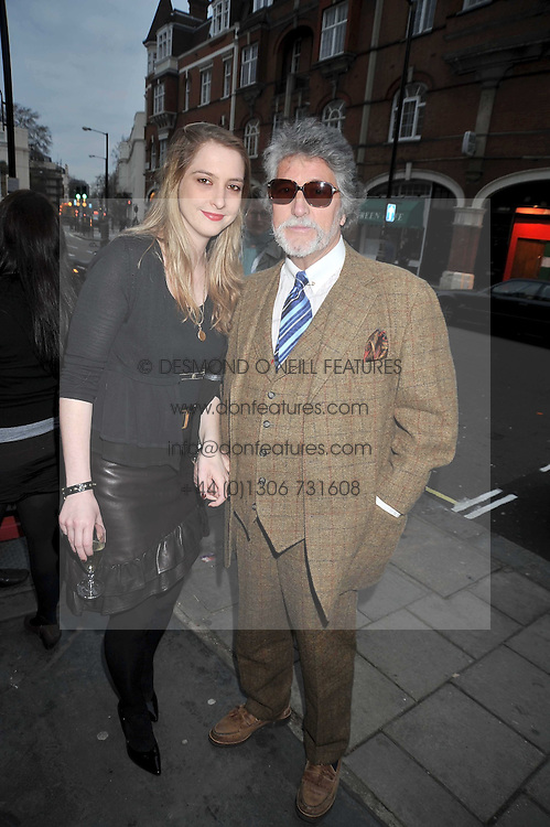 DAISY DE VILLENEUVE and her father JUSTIN DE VILLENEUVE at a private view entitled 'No Love Lost' by artists Daisy de Villeneuve and Natasha Law held at Eleven, 11 Eccleston Street, London SW1 on 31st March 2009.