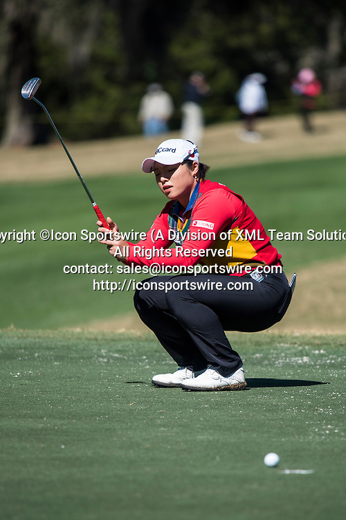 February 05, 2016: Ha Na Jang just misses her putt on hole 16 during the second round of the Coates Golf Championship in Ocala, FL. (Photograph by Roy K. Miller/Icon Sportswire)