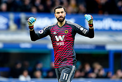 Rui Patricio of Wolverhampton Wanderers celebrates Ruben Neves scoring a goal to make it 1-0 - Mandatory by-line: Robbie Stephenson/JMP - 02/02/2019 - FOOTBALL - Goodison Park - Liverpool, England - Everton v Wolverhampton Wanderers - Premier League