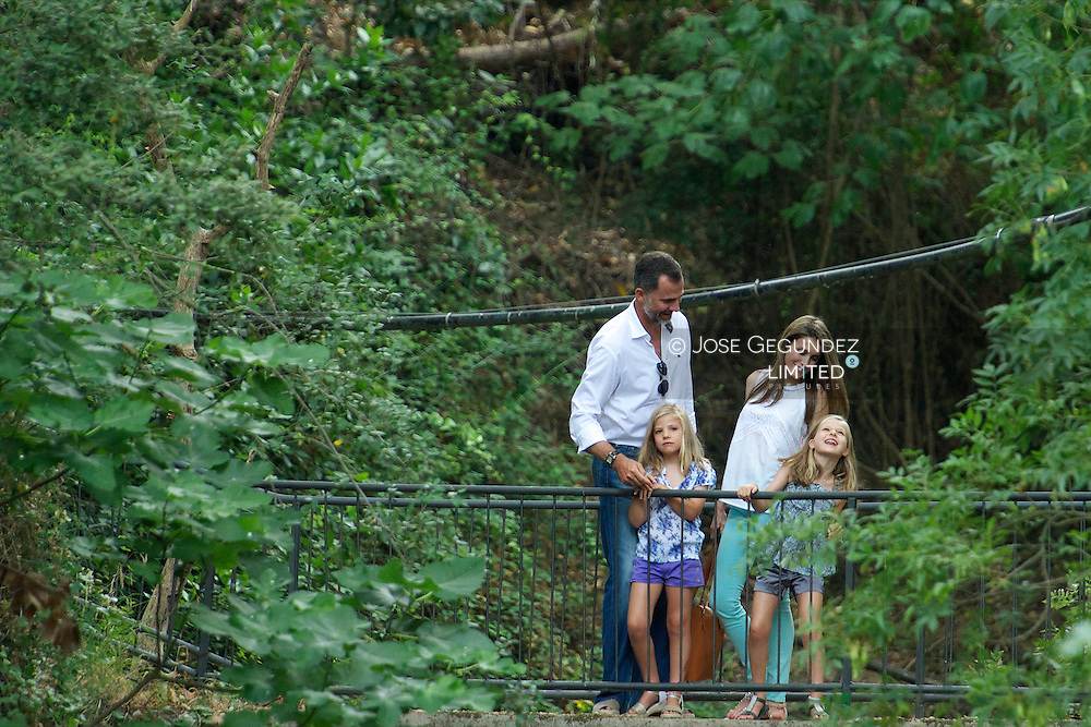 Prince Felipe of Spain, Princess Letizia of Spain, Princess Leonor and Princess Sofia visit Big Historical Mansion La Granja in Esporles during their summer holidays on August 5, 2013 in Palma de Mallorca