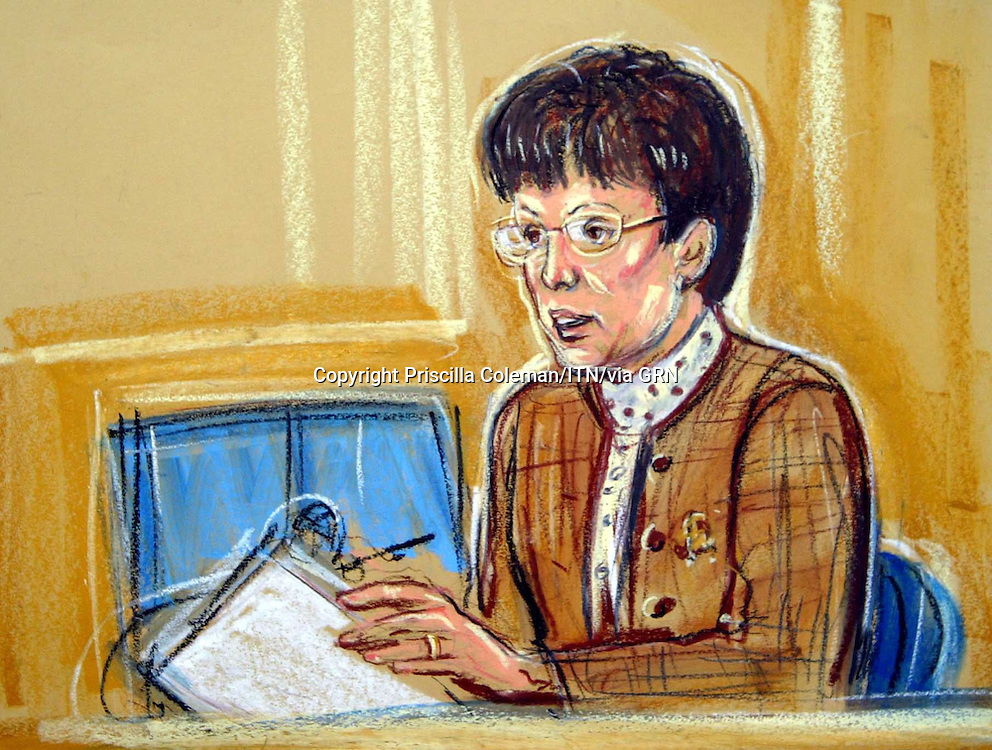 ©PRISCILLA COLEMAN ITV NEWS 04.09.03.SUPPLIED BY: PHOTONEWS SERVICE LTD OLD BAILEY.PIC SHOWS:  OLIVIA BOSCH, GIVING EVIDENCE AT THE HIGH COURT TODAY IN FRONT OF THE INQUIRY INTO THE DEATH OF DR DAVID KELLY-SEE STORY.ILLUSTRATION: PRISCILLA COLEMAN ITV NEWS