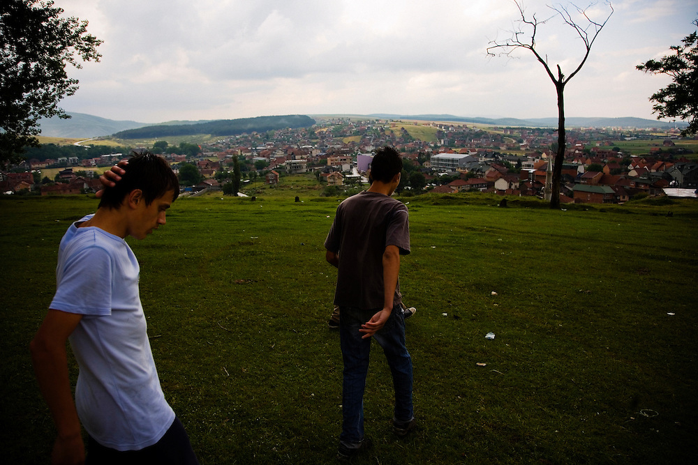 Albanian teenagers on the hillside above Shtime, Kosovo.