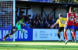 Aldershot Town's Phil Smith saves - Photo mandatory by-line: Neil Brookman - Mobile: 07966 386802 - 11/10/2014 - SPORT - Football - Aldershot - Recreation Ground - Aldershot Town v Bristol Rovers - Vanarama Football Conference