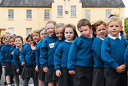 All ready for the start of School Some of the Junior Infants at Scoil Padraig.Westport...Pic Conor McKeown
