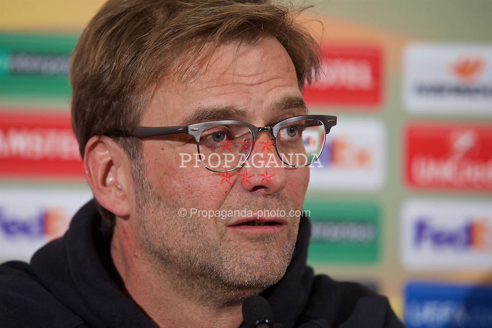 LIVERPOOL, ENGLAND - Wednesday, March 9, 2016: Liverpool's manager Jürgen Klopp during a press conference at Melwood Training Ground ahead of the UEFA Europa League Round of 16 1st Leg match against Manchester United FC. (Pic by David Rawcliffe/Propaganda)