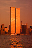 NYC, NY, Boat between Twin Towers, World Trade Center, designed by Minoru Yamasaki, International Style II