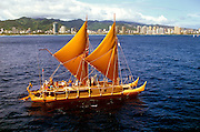 Hokulea sailing off Waikiki, Oahi, Hawaii