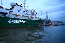 UK ENGLAND LONDON 23NOV16 - The Greenpeace ship Esperanza lies moored next to Tower Bridge in central  London.<br /> <br /> jre/Photo by Jiri Rezac<br /> <br /> © Jiri Rezac 2016