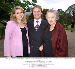 Left to right, LORD & LADY DALMENY and his mother the COUNTESS OF ROSEBERY, at an exhibition in London on 27th May 2003.PJX 33