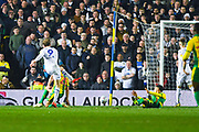 Patrick Bamford of Leeds United (9) scores a goal to make the score 3-0 during the EFL Sky Bet Championship match between Leeds United and West Bromwich Albion at Elland Road, Leeds, England on 1 March 2019.
