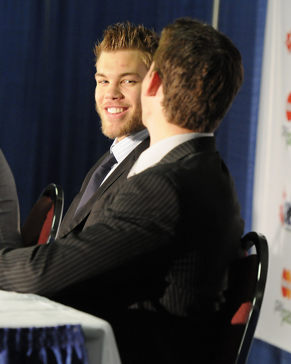 Taylor Hall (left) of the Windsor Spitfires and Tyler Seguin of the Plymouth Whalers at the Canadian Hockey League media conference at the MasterCard Memorial Cup in Brandon, MB on Friday. Photo by Aaron Bell/CHL Images