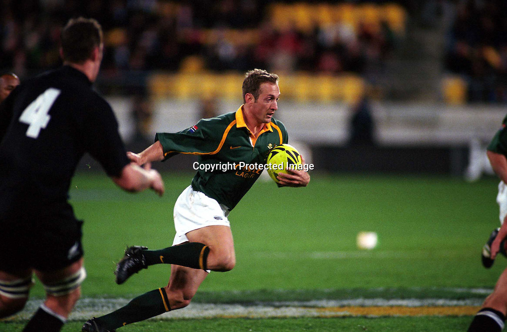 Stefan Terblanche in action the rugby union Tri Nations test match between the All Blacks and South Africa, Wesptac Trust Stadium, Wellington, 20 July, 2002. Photo: PHOTOSPORT