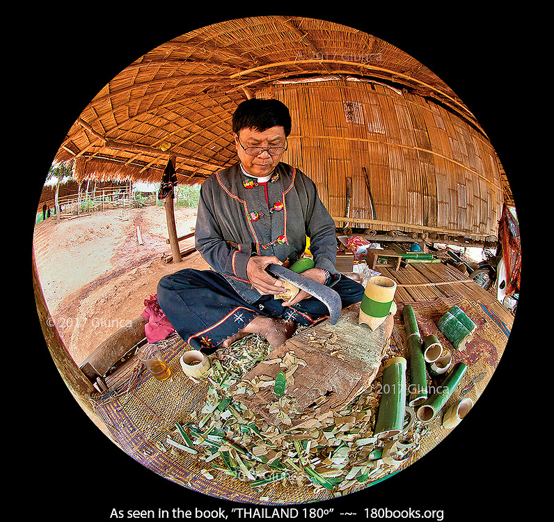 Lahu (Muser) Tribe Man Carving a Bamboo Cup