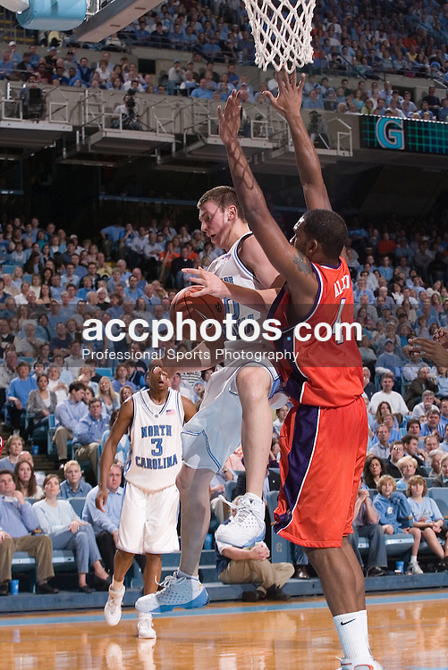 04 February 2006:  Tyler Hansbrough with an offensive rebound, defended by Steve Allen (4) during a Clemson Tigers 61-76 loss to the North Carolina Tarheels, in the Dean Smith Center in Chapel Hill, NC..