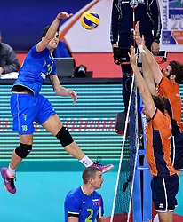 Klemen Cebulj during volleyball match between National teams of Netherlands and Slovenia in Playoff of 2015 CEV Volleyball European Championship - Men, on October 13, 2015 in Arena Armeec, Sofia, Bulgaria. Photo by Ronald Hoogendoorn / Sportida