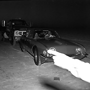 """The Studebaker Avanti """"Due Cento"""" is pushed by an E40 truck at the Bonneville Salt Flats in October, 1963."""