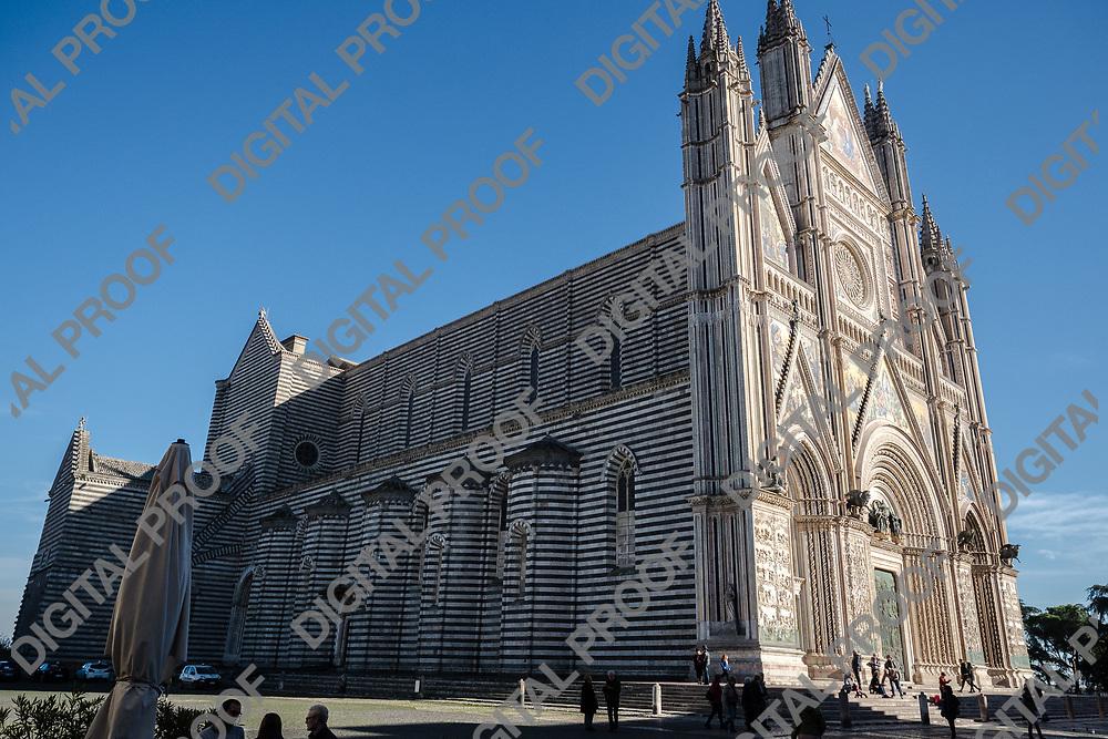 Duomo di Orvieto external side. Umbria, Italy 2017.