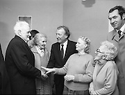 Image of Fianna Fáil leader Charles Haughey touring West Cork during his 1982 election campaign...04/02/1982.02/04/82.4th February 1982..New Age dawning:..Charles Haughey at St Michael's Centre for Old Folk, Bandon. Here he can be seen in conversation with, among others, John O'Driscoll and Margaret Deasey to his right, and with the centre's director, Dorothy Beamish to his left. Lena Beamish can be partially seen standing to the rear of the group. ..