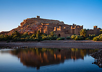 AIT BEN HADDOU, MOROCCO - CIRCA APRIL 2017: View of the Ksar Ait Ben Haddou at Sunset.