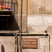 Italian, Arabic and Hebrew language street sign, Palermo, Sicily, Italy