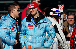Jure Kosir and Andrej Sporn during 2nd Rund of Men's Giant Slalom of FIS Ski World Cup Alpine Kranjska Gora, on March 5, 2011 in Vitranc/Podkoren, Kranjska Gora, Slovenia.  (Photo By Vid Ponikvar / Sportida.com)