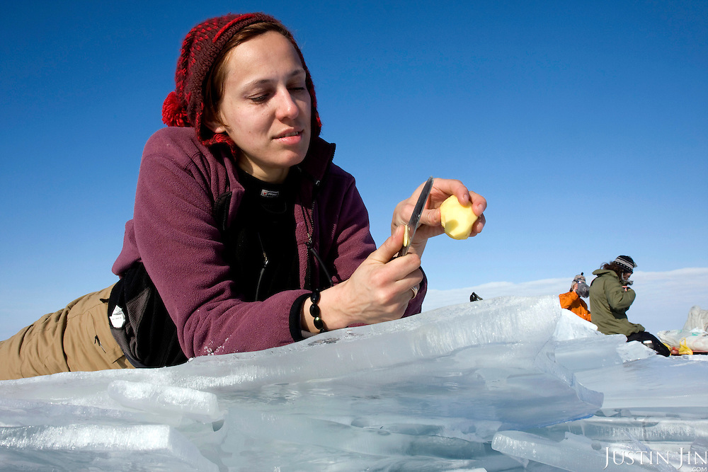 Nastya cuts a potato to make lunch during the second day trek across frozen Lake Baikal in Siberia, Russia. .They are a group of five people: Justin Jin (Chinese-British), Heleen van Geest (Dutch), Nastya and Misha Martynov (Russian) and their Russian guide Arkady. .They pulled their sledges 80 km across the world's deepest lake, taking a break on Olkhon Island. They slept two nights on the ice in -15c. .Baikal, the world's largest lake by volume, contains one-fifth of the earth's fresh water and plunges to a depth of 1,637 metres..The lake is frozen from November to April, allowing people to cross by cars and lorries.
