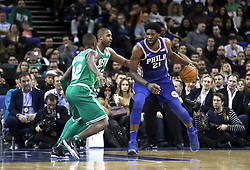 Philadelphia 76ers' Joel Embiid (right) during the NBA London Game 2018 at the O2 Arena, London.