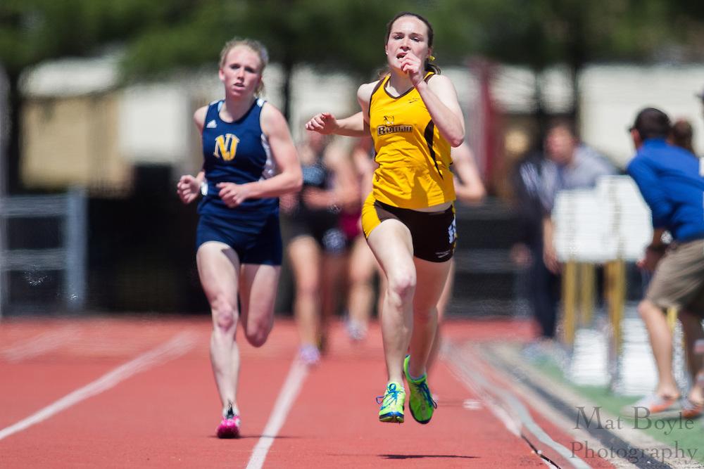 Rowan University's Megan Borz competes in the women's 1500 meter at the NJAC Track and Field Championships at Richard Wacker Stadium on the campus of  Rowan University  in Glassboro, NJ on Sunday May 5, 2013. (photo / Mat Boyle)