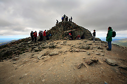 UK WALES LLANBERIS 15JUN08 - Hikers on the summit of Mount Snowdon, the last of the mountains of the Three Peaks Challenge Event in Snowdonia National Park, Wales...jre/Photo by Jiri Rezac ..© Jiri Rezac 2008..Contact: +44 (0) 7050 110 417.Mobile:  +44 (0) 7801 337 683.Office:  +44 (0) 20 8968 9635..Email:   jiri@jirirezac.com.Web:    www.jirirezac.com..© All images Jiri Rezac 2008 - All rights reserved.