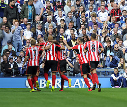 Sunderland players celebrate Sunderland's Lee Cattermole's goal  - Photo mandatory by-line: Joe Meredith/JMP - Mobile: 07966 386802 16/08/2014 - SPORT - FOOTBALL - West Bromwich - The Hawthorns - West Bromwich Albion v Sunderland - Barclays Premier League