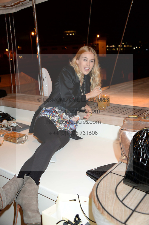 Johnnie Walker Gold Label Reserve Finale Celebration Party aboard the John Walker & Sons Voyager moored at the Prince of Wales Docks, Leith, Edinburgh, Scotland on 14th August 2013.<br /> Picture shows:-Mary Charteris.