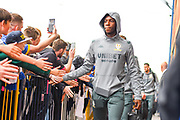 Leeds United forward Eddie Nketiah (14) arrives at the ground during the EFL Sky Bet Championship match between Leeds United and Brentford at Elland Road, Leeds, England on 21 August 2019.