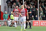 Hamilton Academical defender Scott McMann (3) is shown the yellow card during the Ladbrokes Scottish Premiership match between Hamilton Academical FC and Celtic at New Douglas Park, Hamilton, Scotland on 24 November 2018. Pic Mick Atkins