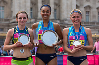 Sarah McDonald (second place, left), Adele Tracey (centre, first place) and Rosie Clarke (right third place) at the presentations for the Senior Women's British One Mile Road Race at The Vitality Westminster Mile, Sunday 28th May 2017.<br /> <br /> Photo: Neil Turner for The Vitality Westminster Mile<br /> <br /> For further information: media@londonmarathonevents.co.uk