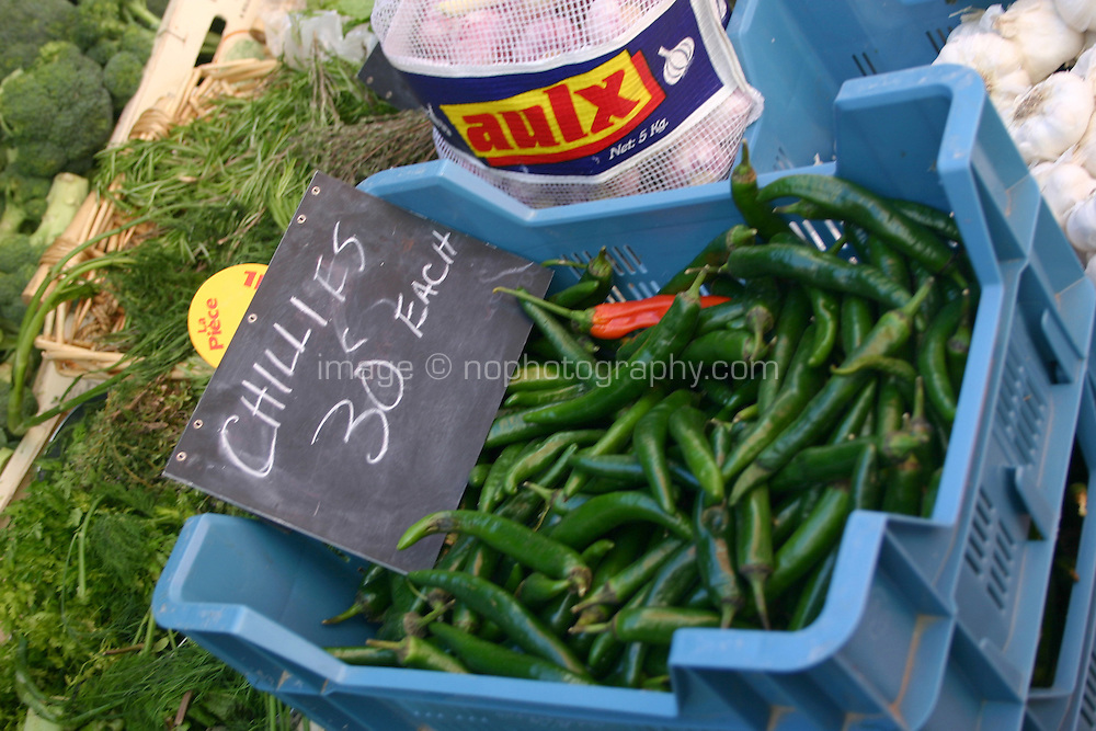 Fresh Chillies for sale in local organic market