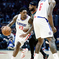08 January 2018: LA Clippers guard Lou Williams (23) drives past Atlanta Hawks guard Malcolm Delaney (5) on a screen set by LA Clippers center DeAndre Jordan (6) during the LA Clippers 108-107 victory over the Atlanta Hawks, at the Staples Center, Los Angeles, California, USA.