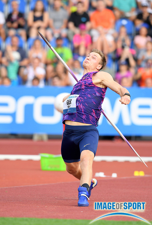 Thomas Rohler (GER) wins the javelin with a throw of 300-3 (91.53m) during the 56th Ostrava Golden Spike in an IAAF World Challenge meeting at Mestky Stadion in Ostrava, Czech Republic on Wednesday, June 28, 20017. (Jiro Mochizuki/Image of Sport)