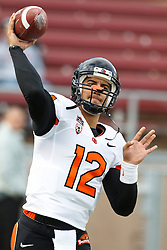 November 27, 2010; Stanford, CA, USA;  Oregon State Beavers quarterback Ryan Katz (12) warms up before the game against the Stanford Cardinal at Stanford Stadium.  Stanford defeated Oregon State 38-0.