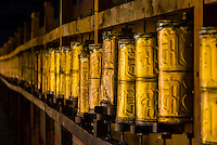Prayer wheels, Tandruk Monastery, near Tsedang, Tibet (Xizang), China.