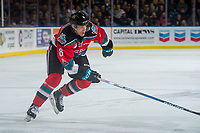 KELOWNA, CANADA - NOVEMBER 25: Jack Cowell #8 of the Kelowna Rockets skates against the Medicine Hat Tigers on November 25, 2017 at Prospera Place in Kelowna, British Columbia, Canada.  (Photo by Marissa Baecker/Shoot the Breeze)  *** Local Caption ***