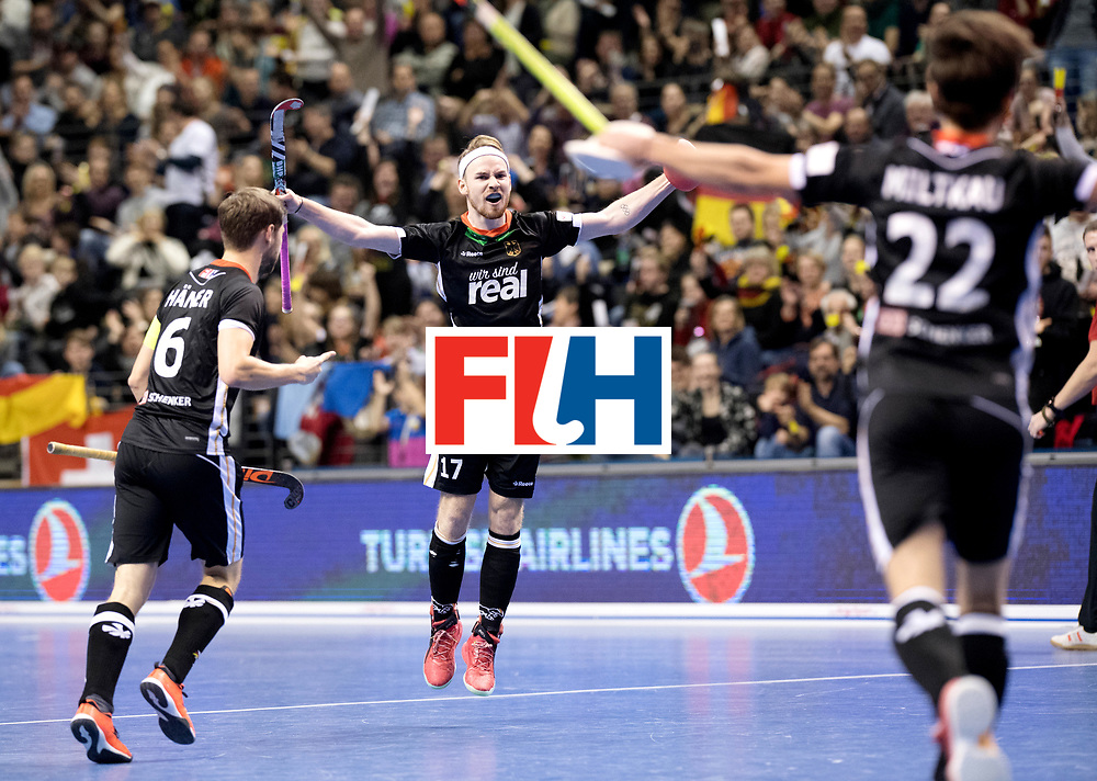 BERLIN - Indoor Hockey World Cup<br /> Semi-final 1: Germany - Iran<br /> foto: Christopher R&uuml;hr scored the penalty stroke.<br /> WORLDSPORTPICS COPYRIGHT FRANK UIJLENBROEK