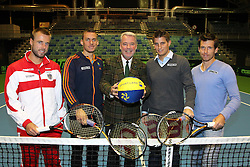 04.02.2012, Arena Nova, Wr. Neustadt, AUT, Davis Cup, Oesterreich vs Russland, Pressekonferenz, im Bild  von Links Oliver Marsch, AUT, Andreas Haider-Maurer, AUT, Klaus Schneeberger, Mag. (FH) Clemens Trimmel, ÖTV- Sportdirektor und Davis Cup- Kapitän , Alexander Peya,  AUT// von Links Oliver Marsch, AUT, Andreas Haider-Maurer, AUT, Klaus Schneeberger, Mag. (FH) Clemens Trimmel, ÖTV- Sportdirektor und Davis Cup- Kapitän , Alexander Peya,  AUT during the press conference Davis Cup Austria vs Russia at the Match at the Arena Nova, Vienna Neustadt, Austria 2012/02/04 . EXPA Pictures © 2012, PhotoCredit: EXPA/ Stephan Woldron
