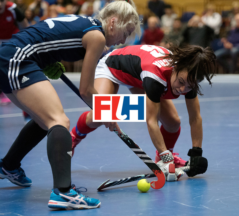 BERLIN - Indoor Hockey World Cup<br /> Belarus - Poland<br /> foto: Sviatlana Bahushevich and Marlena Rybacha <br /> WORLDSPORTPICS COPYRIGHT FRANK UIJLENBROEK