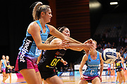 Steel goal attack Te Paea Selby-Rickit and Magic goal keep Kate Lloyd compete for the ball during the ANZ Premiership netball match - Magic v Steel played at Claudelands Arena, Hamilton, New Zealand on 9 July 2018.<br /> <br /> during the ANZ Premiership netball match - Magic v Steel played at Claudelands Arena, Hamilton, New Zealand on 9 July 2018.<br /> <br /> Copyright photo: © Bruce Lim / www.photosport.nz