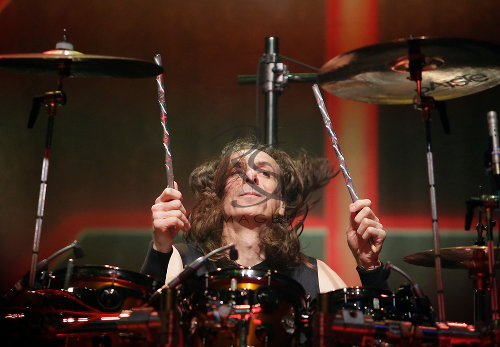 Scott Travis of Judas Priest performs on Tuesday, April 24, 2018, in Phoenix, Arizona. (AP Images/Rick Scuteri)