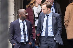 © Licensed to London News Pictures. 27/03/2019. London, UK. Health Secretary Matt Hancock talks with Sam Gyimah as they leave Parliament after prime minister's questions. MPs will hold a series of indicative votes on different Brexit options this evening. Photo credit: Peter Macdiarmid/LNP