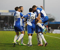 Bristol Rovers' Nathan Blissett celebrates his goal with team mates. - Photo mandatory by-line: Dougie Allward/JMP - Mobile: 07966 386802 - 29/11/2014 - SPORT - Football - Bristol - Memorial Stadium - Bristol Rovers v Welling - Vanarama Conference